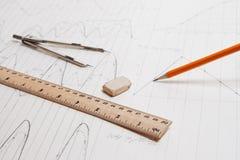 Het detail van de tekening en tekeningshulpmiddelen Royalty-vrije Stock Foto's