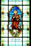 Het detail van het gebrandschilderd glasvenster met Heilige Elisabeth stock fotografie