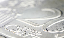 Het detail van het 20 Eurocentmuntstuk Royalty-vrije Stock Foto
