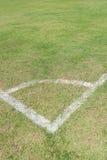 Het detail van het voetbaldoel met een voetbal Stock Afbeelding