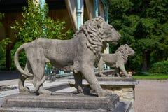 Het detail van leeuwstandbeelden in Josheps-Kruis in Stolberg Harz stock afbeeldingen