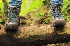 Het detail van modderige laarzen op de manier aan de Verloren drie watervallen wandelt in de hooglanden dicht bij boquete, Panama Stock Afbeelding