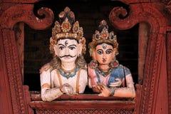 Het detail van Woodcarving op tempel op Vierkant Durbar stock afbeelding