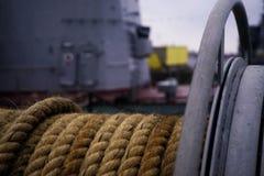 het detailclose-up van de schipkabel in openlucht Royalty-vrije Stock Fotografie