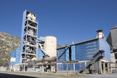 Het detailmening van de cementfabriek Stock Foto's