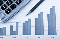 Het diagram en de calculator van financiën Royalty-vrije Stock Afbeeldingen