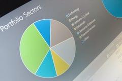 Het diagram van bedrijfsgrafiekgegevens op het computerscherm. Royalty-vrije Stock Fotografie