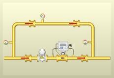 Het diagram van complex installatie die van gas meten Stock Foto