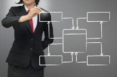 Het diagram van de de gegevensstroom van de bedrijfsvrouwentekening Stock Foto's