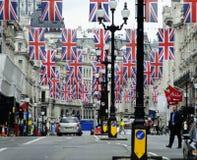 Het diamanten jubileumdecoratie en voorbereiding van de koningin Royalty-vrije Stock Afbeelding
