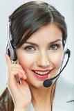 Het dichte omhooggaande portret van de klantenondersteuningsexploitant call centresmili Royalty-vrije Stock Afbeeldingen