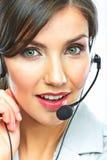 Het dichte omhooggaande portret van de klantenondersteuningsexploitant call centresmili Royalty-vrije Stock Foto