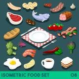 Het dieet plaatste Isometrisch Voedsel 08 Royalty-vrije Stock Afbeelding