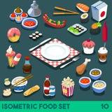 Het dieet plaatste Isometrisch Voedsel 10 Stock Foto's