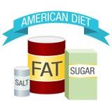 Het Dieet Vette Zoute Suiker van de V.S. Stock Afbeeldingen