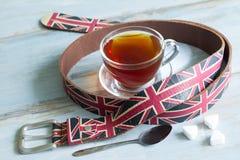 Het dieetconcept van het Engelse samenvattingsontbijt met kop thee stock afbeelding