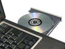 Het Dienblad van CD-rom op Laptop Royalty-vrije Stock Afbeeldingen