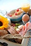 Het dienblad van het ontbijt Stock Foto's