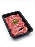 Het Dienblad van het Vlees van de lamskotelet Stock Foto's