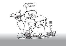 Het dienende diner van de chef-kok royalty-vrije illustratie