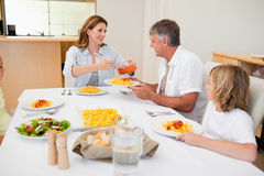 Het dienende diner van de vrouw aan hongerige familie Stock Fotografie