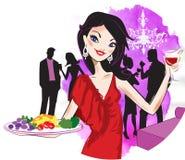 Het dienende voedsel van de vrouw Stock Fotografie