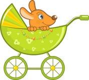 Het dier van de baby in de groene wandelwagen Stock Foto's