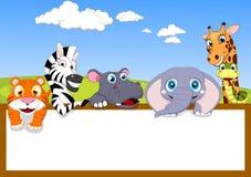 Het dier van de dierentuin met Houten teken Stock Foto's