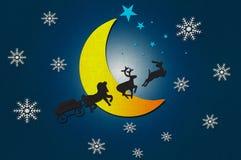 Het dier van de Kerstman met Maan Royalty-vrije Stock Afbeelding