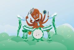 Het dier van het de muziek poulpe karakter van dieren onderwater Royalty-vrije Stock Afbeelding