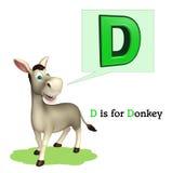Het dier van het ezelslandbouwbedrijf met alphabte Stock Fotografie
