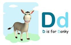 Het dier van het ezelslandbouwbedrijf met alphabte Royalty-vrije Stock Foto