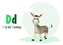 Het dier van het ezelslandbouwbedrijf met alphabte Stock Foto