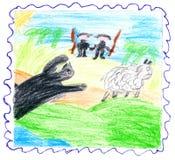 Het dier vangt schapen. De jagers slepen om te helpen mee. royalty-vrije illustratie