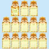 Het dier vormde de Kalendermalplaatje van 2018 Leuke Eekhoorn, Autumn Calendar Cartoon Vector Stock Afbeelding