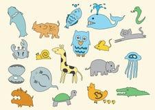 Het dierlijke art. van het krabbelkind getrokken beeldverhaal Royalty-vrije Stock Fotografie