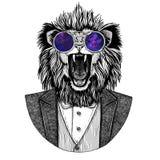 Het dierlijke Hand getrokken beeld van Lion Hipster voor tatoegering, embleem, kenteken, embleem, flard, t-shirt Royalty-vrije Stock Foto