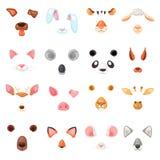 Het dierlijke masker vector animalistische maskerende gezicht van wilde karakters draagt wolfskonijn en kat of hond op maskerade royalty-vrije illustratie