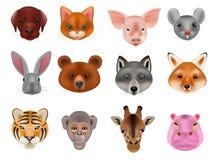 Het dierlijke masker vector animalistische maskerende gezicht van wilde karakters draagt wolfskonijn en kat of hond op maskerade stock illustratie