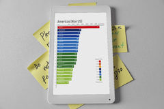 Het digitaal weergeven op stootkussen om lijsten te doen Stock Foto's