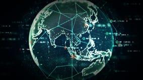 Het digitale Blauw van Wereldgegevens stock illustratie