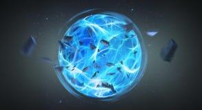 Het digitale blauwe exploderende grootmachtbal 3D teruggeven Stock Fotografie