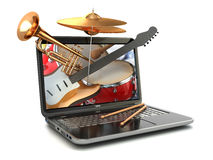 Het digitale concept van de muziekcomponist Laptop en muzikale instrumenten Stock Afbeelding