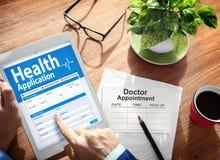 Het digitale Concept van het ZiektekostenverzekeringAanvraagformulier Stock Foto
