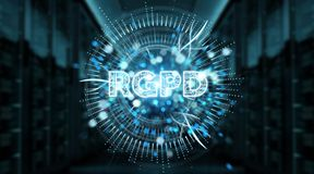 Het digitale GDPR-interface 3D teruggeven Royalty-vrije Stock Fotografie