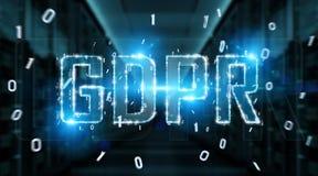 Het digitale GDPR-interface 3D teruggeven Stock Foto