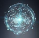 Het digitale het gebied van hologrammendatas 3D teruggeven Stock Afbeeldingen