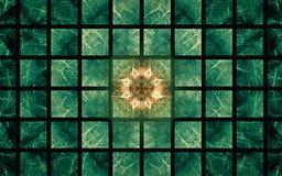 Het digitale geproduceerde beeld in de vorm van abstracte geometrische vormen van diverse schaduwen en de kleuren voor gebruik in stock illustratie