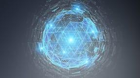 Het digitale het hologram van het driehoeks exploderende gebied 3D teruggeven Royalty-vrije Stock Foto's