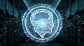Het digitale het hologram van het kunstmatige intelligentiepictogram 3D teruggeven Royalty-vrije Stock Fotografie
